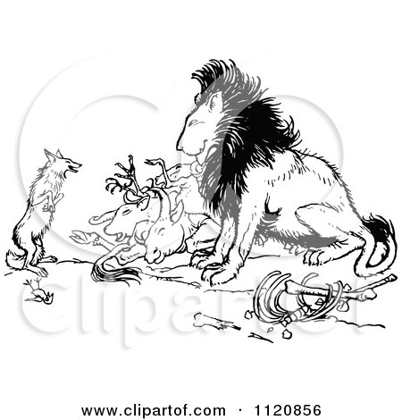 Clipart Of A Retro Vintage Black And White Fox And Lion With Prey - Royalty Free Vector Illustration by Prawny Vintage