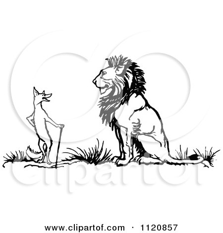 Clipart Of A Retro Vintage Black And White Fox And Lion - Royalty Free Vector Illustration by Prawny Vintage