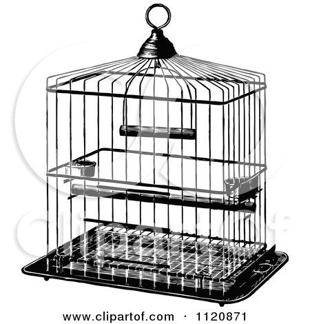 Clipart Vintage Black And White Antique Bird Cage On A Stand ...