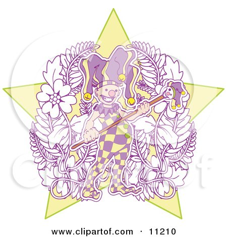 Joker Jester In Purple And Yellow Holding A Staff Clipart Illustration