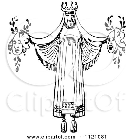 Clipart Of A Retro Vintage Black And White Actor King Theator Decoration Holding Masks - Royalty Free Vector Illustration by Prawny Vintage