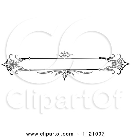 Clipart Of A Retro Vintage Black And White Ornate Banner Design 2 - Royalty Free Vector Illustration by Prawny Vintage