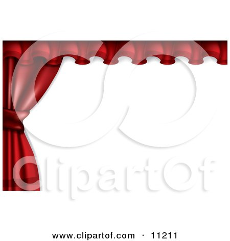 Red Stage or Window Curtains Pulled and Tied to the Side Clipart Illustration by Leo Blanchette
