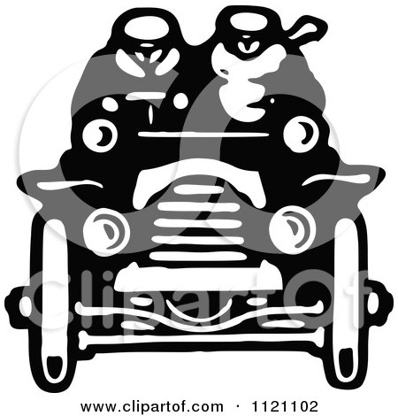 Clipart Of A Retro Vintage Black And White Driver And Passenger In A Convertible Car - Royalty Free Vector Illustration by Prawny Vintage
