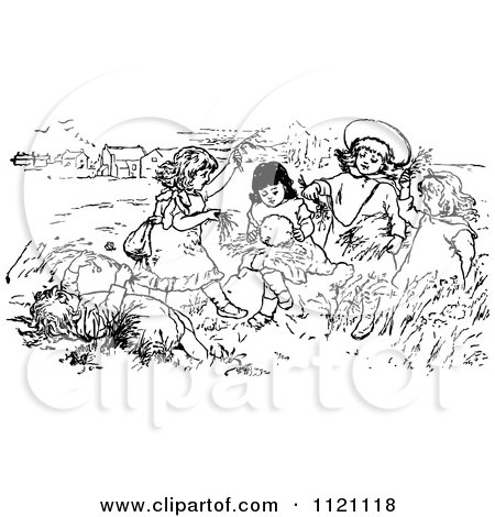 Clipart Of A Retro Vintage Black And White Children Playing In A Meadow - Royalty Free Vector Illustration by Prawny Vintage