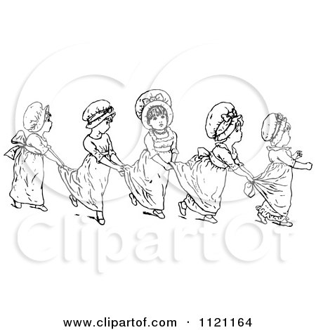 Clipart Of Retro Vintage Black And White Girls In A Line Holding On To Each Others Dresses - Royalty Free Vector Illustration by Prawny Vintage
