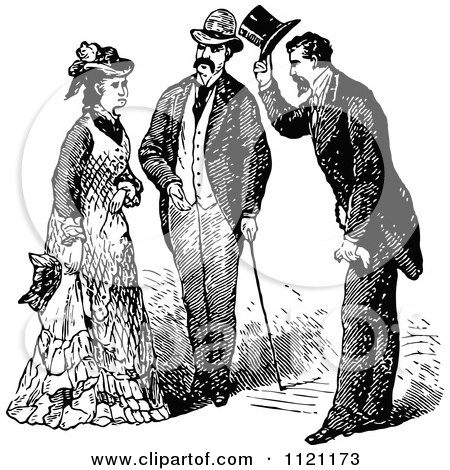 Clipart Of Retro Vintage Black And White Gentlemen Introducing Themselves To A Lady - Royalty Free Vector Illustration by Prawny Vintage