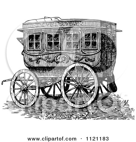 Clipart Of A Retro Vintage Black And White Horse Drawn Omnibus Wagon - Royalty Free Vector Illustration by Prawny Vintage