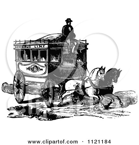 Clipart Of A Retro Vintage Black And White Coachman And Horse Drawn Omnibus Wagon - Royalty Free Vector Illustration by Prawny Vintage