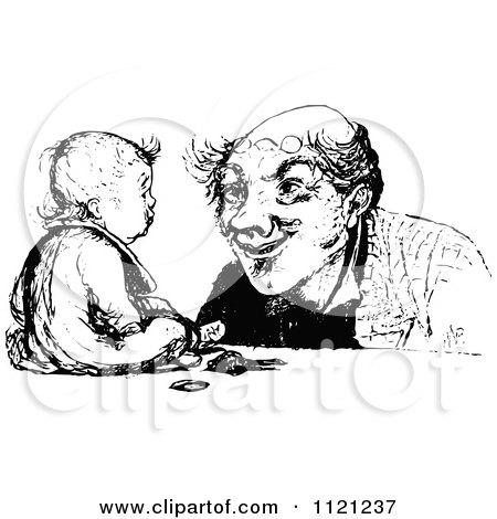 Clipart Of A Retro Vintage Black And White Father And Baby - Royalty Free Vector Illustration by Prawny Vintage
