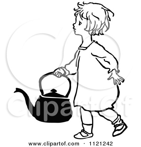 Clipart Of Retro Vintage Black And White Jack And Jill Falling With