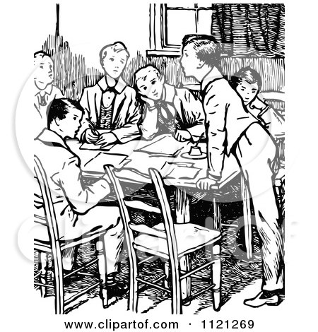 Clipart Of Retro Vintage Black And White School Boys Around A Table - Royalty Free Vector Illustration by Prawny Vintage