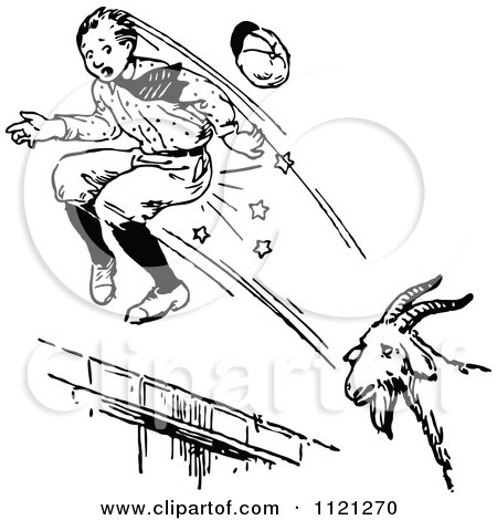 Clipart Of A Retro Vintage Black And White Goat Attacking A Boy - Royalty Free Vector Illustration by Prawny Vintage