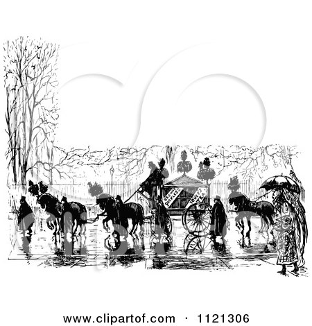 Clipart Of A Retro Vintage Black And White Horse Drawn Carriage And People In A Wet Street With Copyspace - Royalty Free Vector Illustration by Prawny Vintage