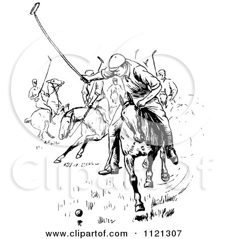 Clipart Of Retro Vintage Black And White Men Playing Polo - Royalty Free Vector Illustration by Prawny Vintage