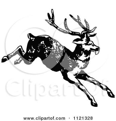 Clipart Of A Retro Vintage Black And White Deer 1 - Royalty Free Vector Illustration by Prawny Vintage