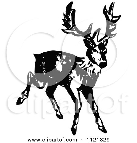 Clipart Of A Retro Vintage Black And White Deer 2 - Royalty Free Vector Illustration by Prawny Vintage