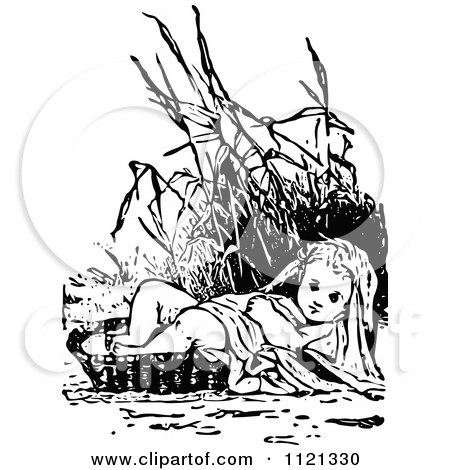 clipart of a retro vintage black and white baby moses in