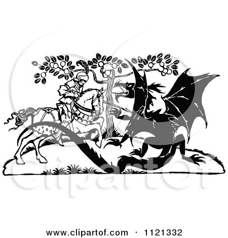 Clipart Of A Retro Vintage Black And White Knight Battling A Dragon - Royalty Free Vector Illustration by Prawny Vintage