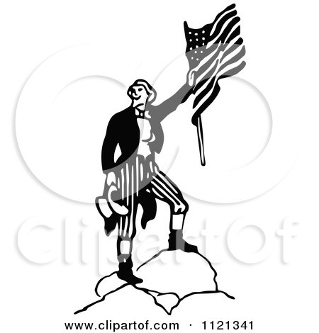 Clipart Of A Retro Vintage Black And White Army Soldier With A Flag 4 - Royalty Free Vector Illustration by Prawny Vintage
