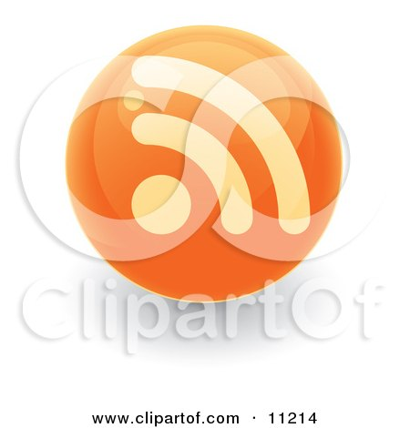 Orange RSS Symbol on a Ball or Button Posters, Art Prints