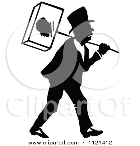 Clipart Of A Retro Vintage Black And White Campaigner 3 - Royalty Free Vector Illustration by Prawny Vintage