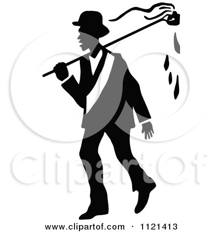Clipart Of A Retro Vintage Black And White Campaigner 4 - Royalty Free Vector Illustration by Prawny Vintage