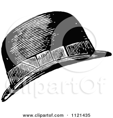 Clipart Of A Retro Vintage Black And White Mans Hat - Royalty Free Vector Illustration by Prawny Vintage