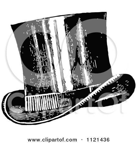 Clipart Of A Retro Vintage Black And White Top Hat - Royalty Free Vector Illustration by Prawny Vintage