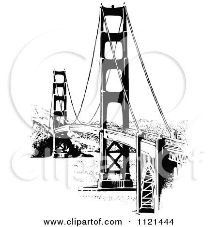 Clipart Of A Retro Vintage Black And White Golden Gate Bridge - Royalty Free Vector Illustration by Prawny Vintage
