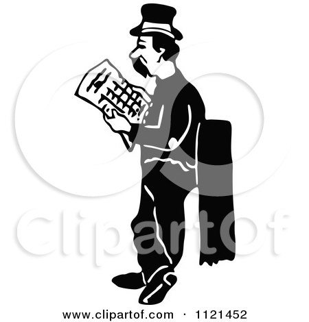 Clipart Of A Retro Vintage Black And White Hobo Man Looking For A Job - Royalty Free Vector Illustration by Prawny Vintage