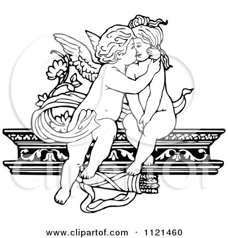 Clipart Of Retro Vintage Black And White Cherubs Kissing On A Shelf - Royalty Free Vector Illustration by Prawny Vintage
