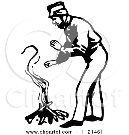 Clipart Of A Retro Vintage Black And White Klondiker Gold Rush Miner Man Warming By A Fire - Royalty Free Vector Illustration by Prawny Vintage