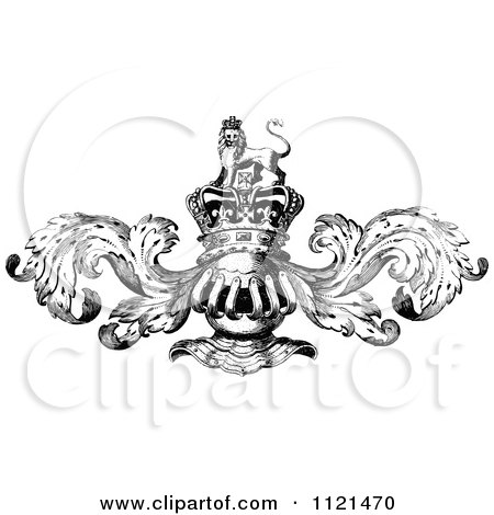 Retro Vintage Black And White Knight Helmet And Crown With Flourishes Posters, Art Prints