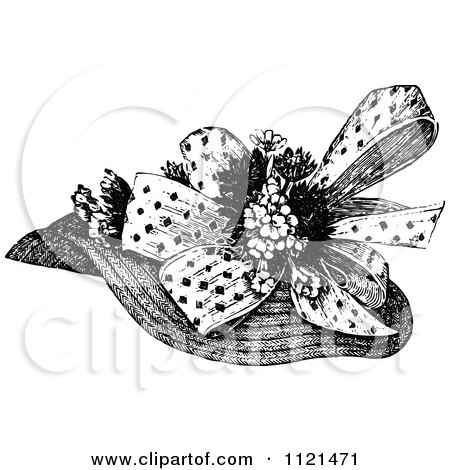 Clipart Of A Retro Vintage Black And White Ladies Hat 1 - Royalty Free Vector Illustration by Prawny Vintage