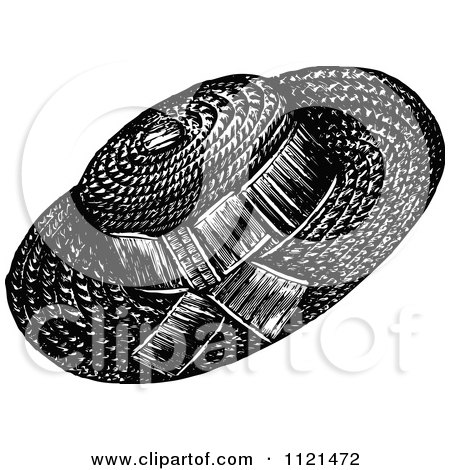 Clipart Of A Retro Vintage Black And White Ladies Hat 2 - Royalty Free Vector Illustration by Prawny Vintage