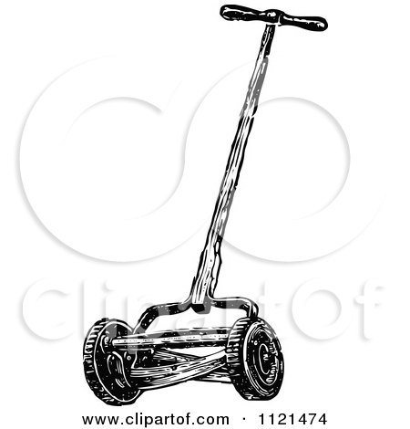 Lawn Mower Clipart Black And White White cylinder lawn mower