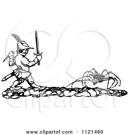Clipart Of A Retro Vintage Black And White Man Battling A Giant Spider - Royalty Free Vector Illustration by Prawny Vintage