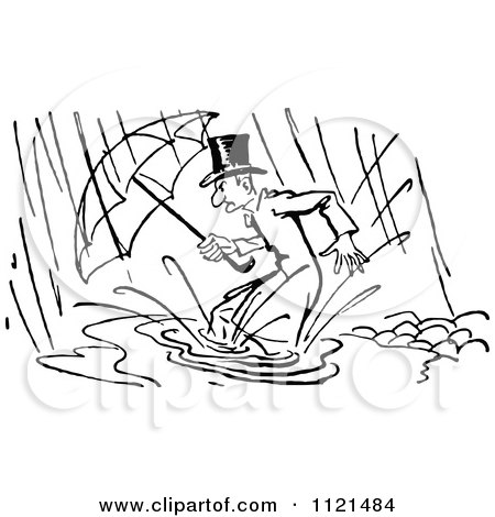 Clipart Of A Retro Vintage Black And White Man In A Flood - Royalty Free Vector Illustration by Prawny Vintage