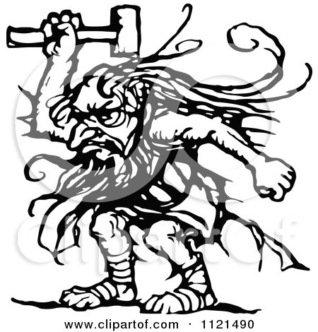 Clipart Of A Retro Vintage Black And White Troll With An Axe Royalty Free Vector Illustration