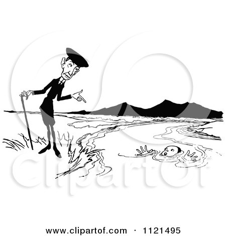 Clipart Of A Retro Vintage Black And White Man Pointing At A Boy Drowning - Royalty Free Vector Illustration by Prawny Vintage