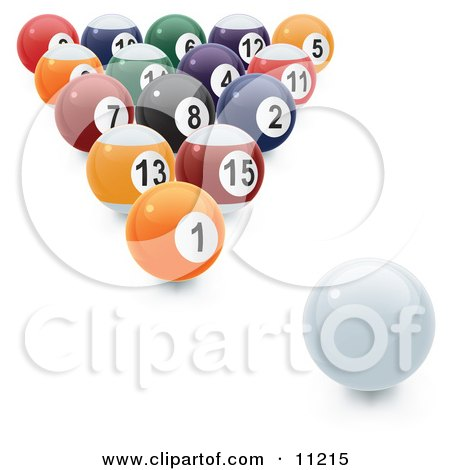 an 8 Ball Rack of Numbered Pool Balls and the Cue Ball Ready to be Broken Clipart Illustration by Leo Blanchette