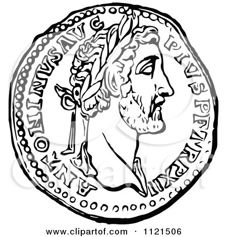 Clipart of a Vintage Black and White Coin of Athens ...