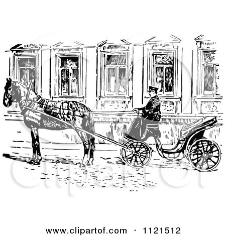 Clipart Of A Retro Vintage Black And White Russian Droshky Carriage - Royalty Free Vector Illustration by Prawny Vintage