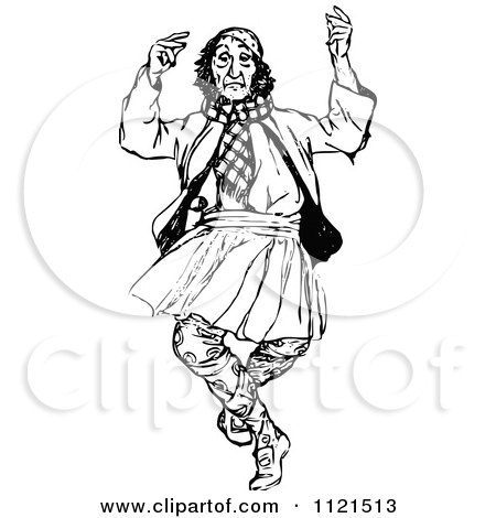 Clipart Of A Retro Vintage Black And White Dancing Scotsman - Royalty Free Vector Illustration by Prawny Vintage