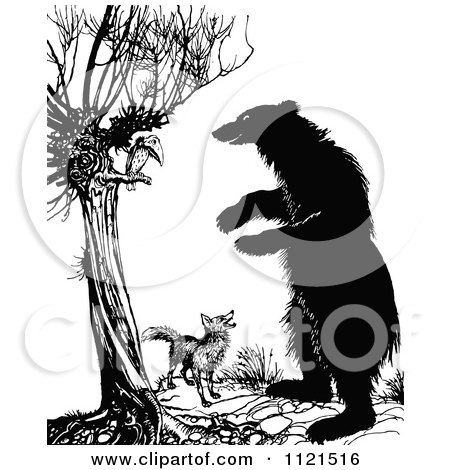 Clipart Of A Retro Vintage Black And White Fox Vulture And A Standing Bear - Royalty Free Vector Illustration by Prawny Vintage