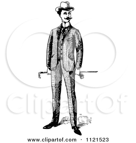 Clipart Of A Retro Vintage Black And White Gentleman Holding A Cane - Royalty Free Vector Illustration by Prawny Vintage