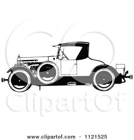 Clipart Of A Retro Vintage Black And White Vintage Car - Royalty Free Vector Illustration by Prawny Vintage