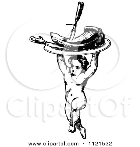 Clipart Of A Retro Vintage Black And White Cherub Carrying A Plate Of Meat - Royalty Free Vector Illustration by Prawny Vintage