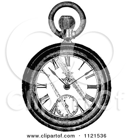 Clipart Of A Retro Vintage Black And White Pocket Watch - Royalty Free Vector Illustration by Prawny Vintage